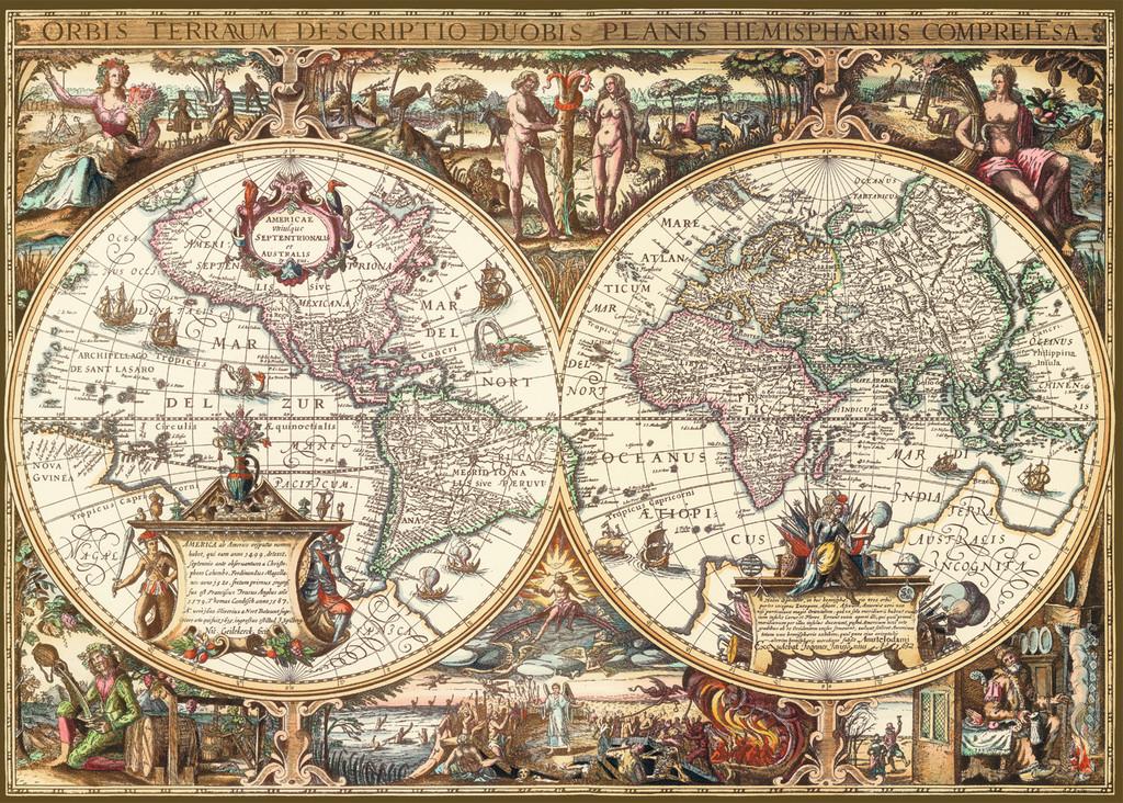 1000 Teile Ravensburger Puzzle Antike Weltkarte