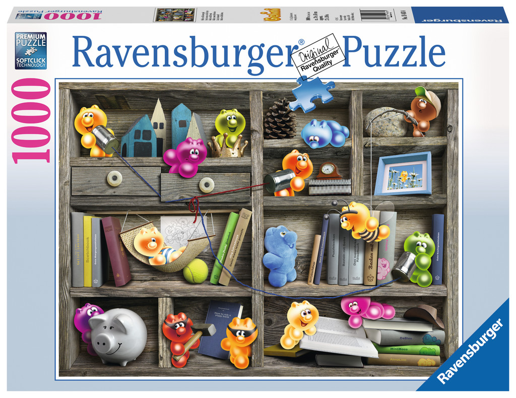 1000 Teile Ravensburger Puzzle Gelini im Bücherregal 19483