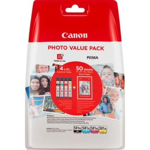 4 Canon Druckerpatronen Tinte CLI-581 XL BK / C / M / Y Multipack inkl. Fotopapier