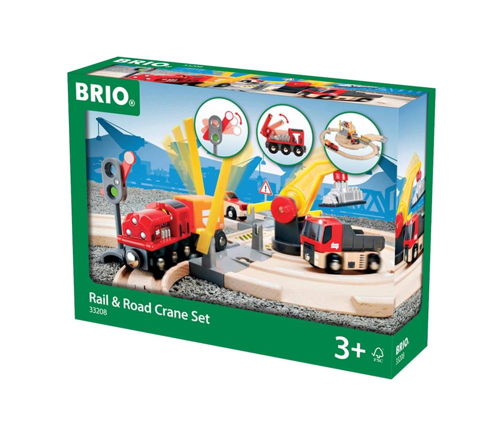 Brio World Eisenbahn Set Straßen und Schienen Kran Set 26 Teile 33208