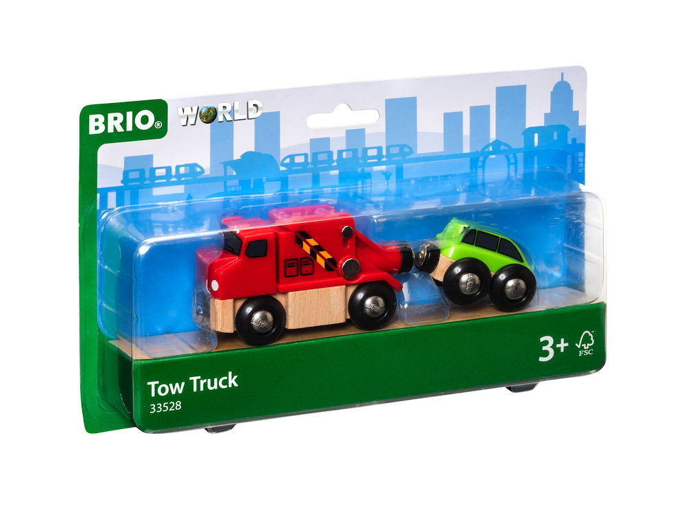 Brio World Eisenbahn Fahrzeug Abschleppwagen mit Auto 2 Teile 33528