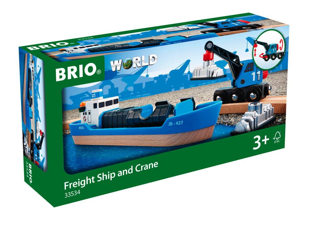 Brio World Eisenbahn Schiff Containerschiff mit Kranwagen 4 Teile 33534