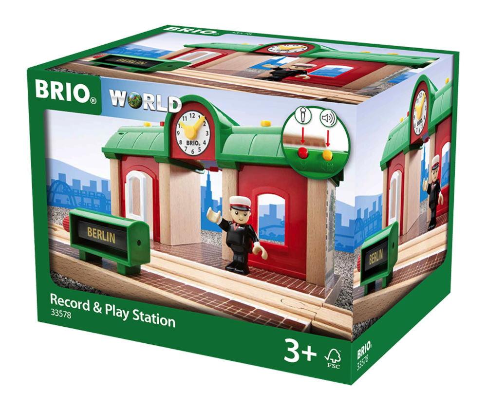 Brio World Eisenbahn Gebäude Sprechender Bahnhof 3 Teile 33578