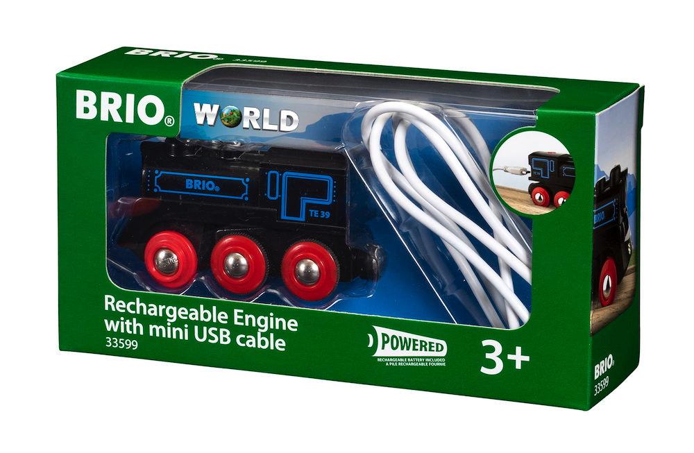 Brio World Eisenbahn Lok Schwarze Akku-Lok mit Mini-USB 33599