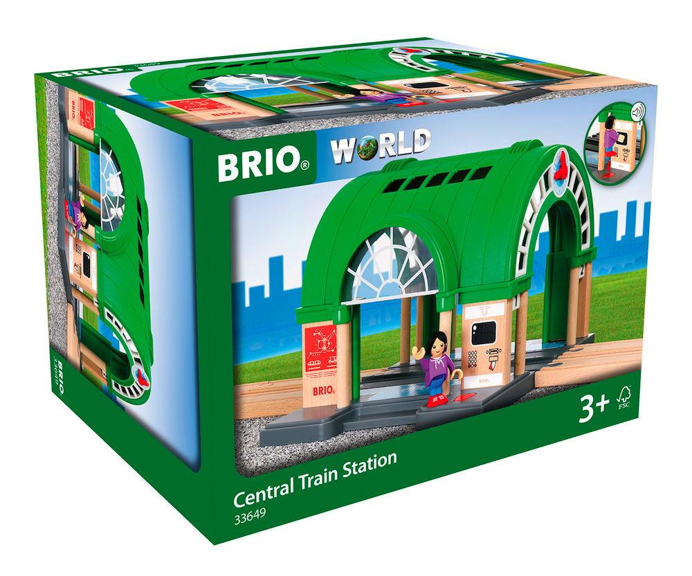 Brio World Eisenbahn Gebäude Neuer Hauptbahnhof mit Ticketautomat 2 Teile 33649