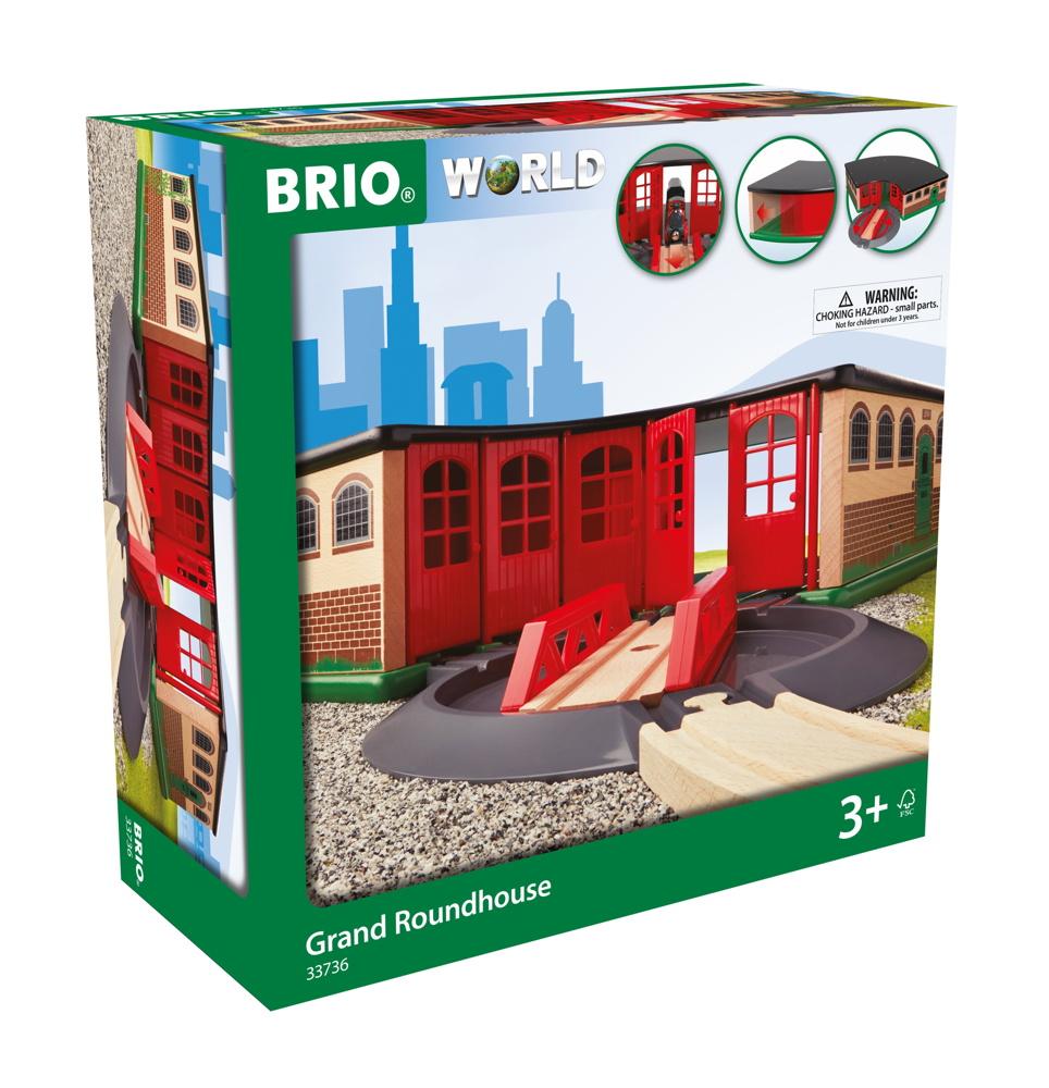 Brio World Eisenbahn Gebäude Großer Ringlokschuppen 2 Teile 33736