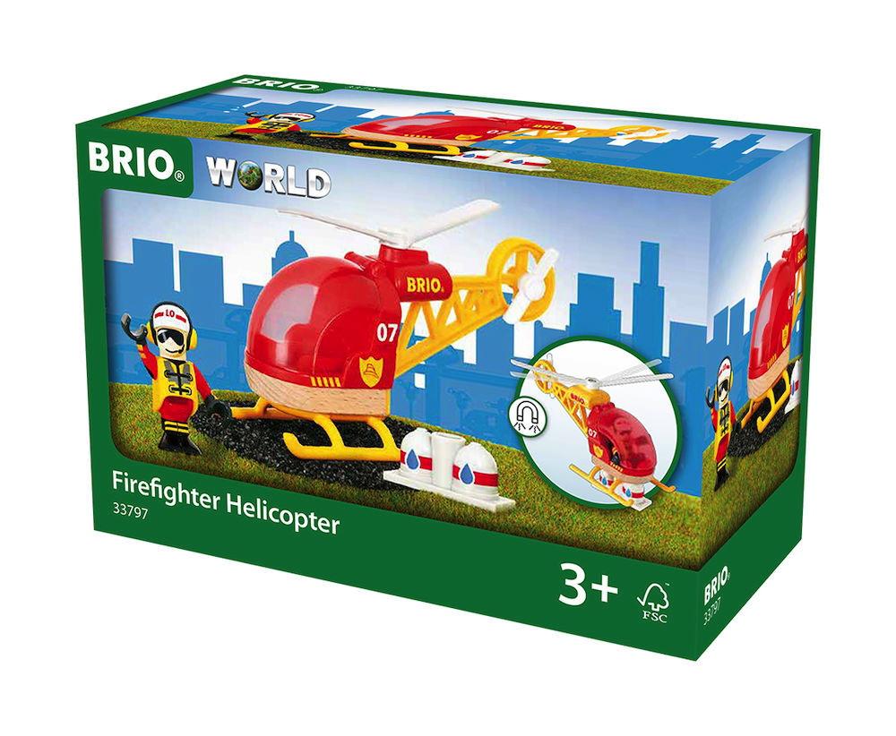 Brio World Eisenbahn Hubschrauber Feuerwehr Hubschrauber 3 Teile 33797