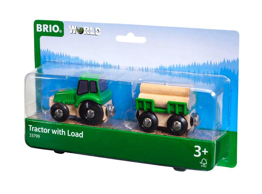 Brio World Eisenbahn Fahrzeug Traktor mit Holz-Anhänger 4 Teile 33799