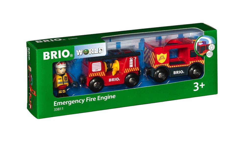 Brio World Eisenbahn Fahrzeug Feuerwehr Leiterfahrzeug mit Licht und Sound 3 Teile 33811