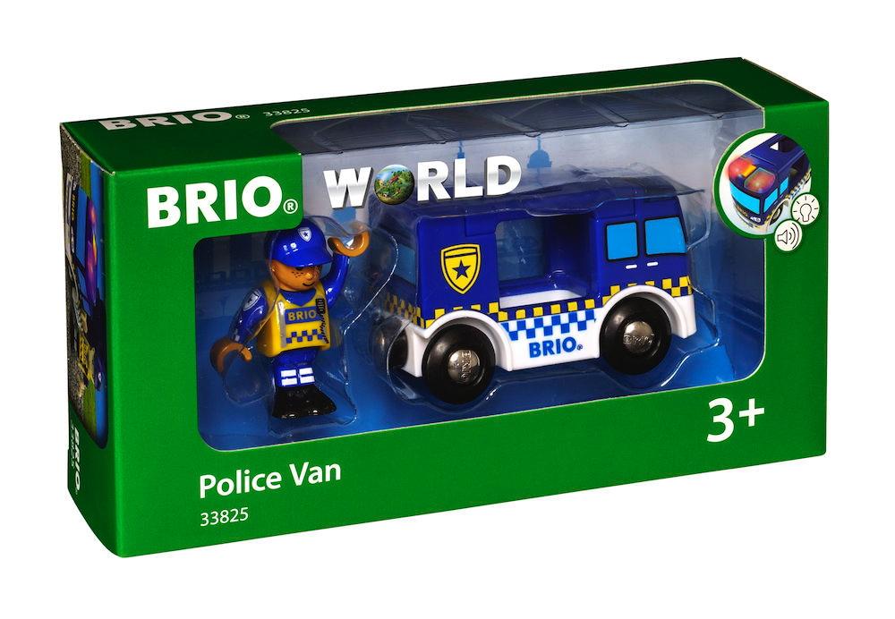 Brio World Eisenbahn Fahrzeug Polizeiwagen mit Licht und Sound 2 Teile 33825