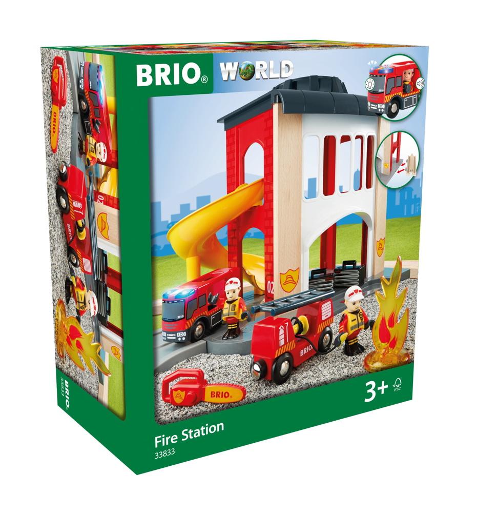Brio World Eisenbahn Gebäude Große Feuerwehr-Station mit Fahrzeug 12 Teile 33833