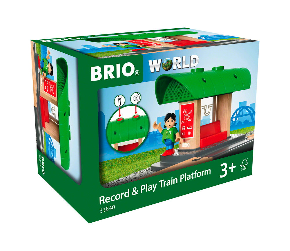 Brio World Eisenbahn Gebäude Bahnhof mit Aufnahmefunktion 2 Teile 33840