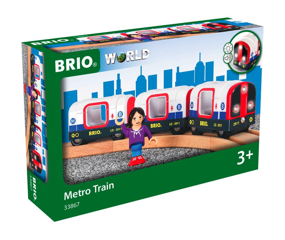 Brio World Eisenbahn Waggon U-Bahn mit Licht und Sound 4 Teile 33867