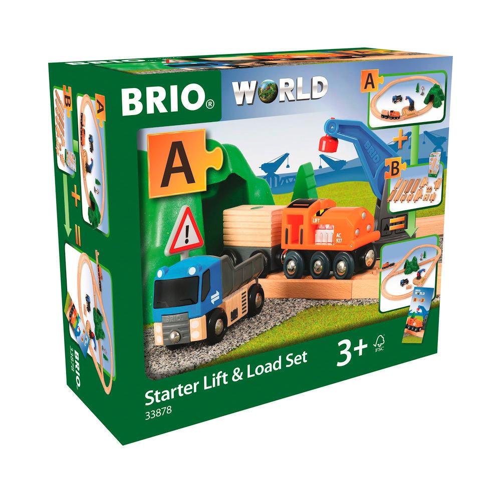 Brio World Eisenbahn Set Starterset Güterzug mit Kran 19 Teile 33878