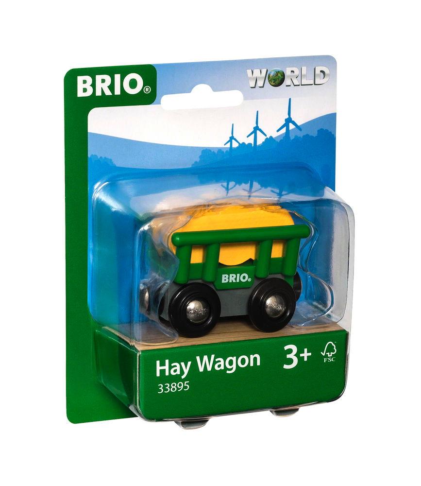 Brio World Eisenbahn Waggon Heuwagen mit Kippfunktion 2 Teile 33895