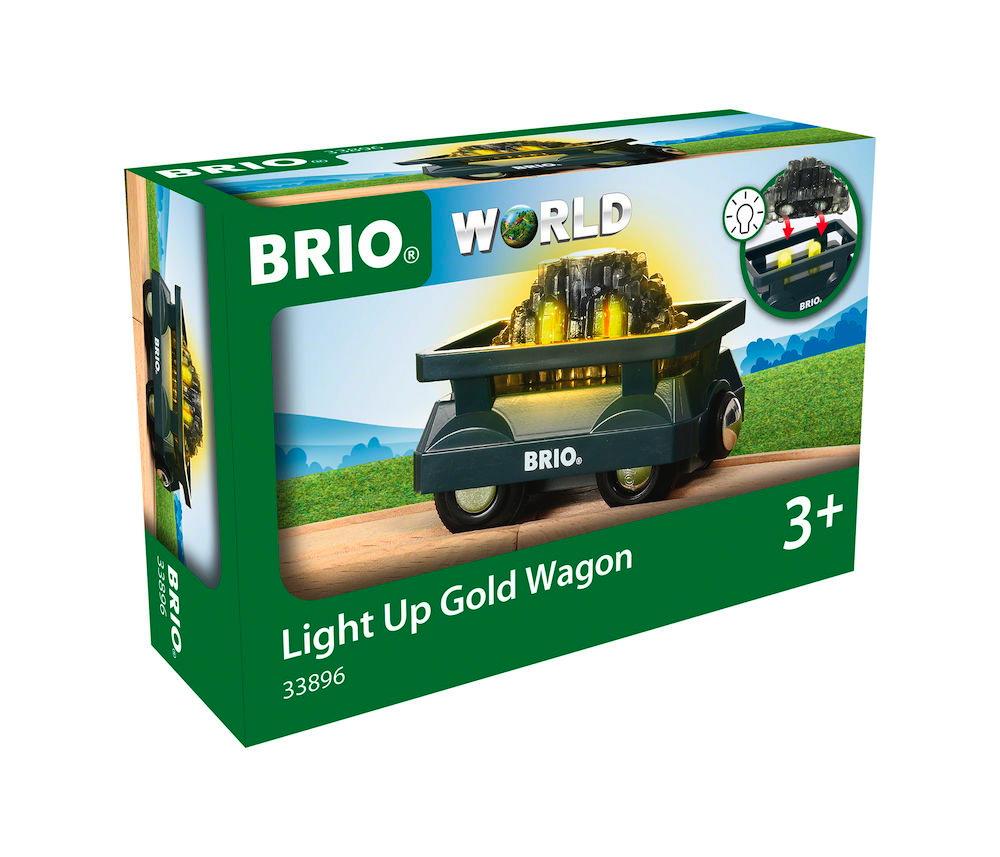Brio World Eisenbahn Waggon Goldwaggon mit Licht 2 Teile 33896