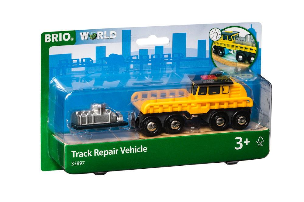 Brio World Eisenbahn Fahrzeug Schienenreparatur Fahrzeug 2 Teile 33897