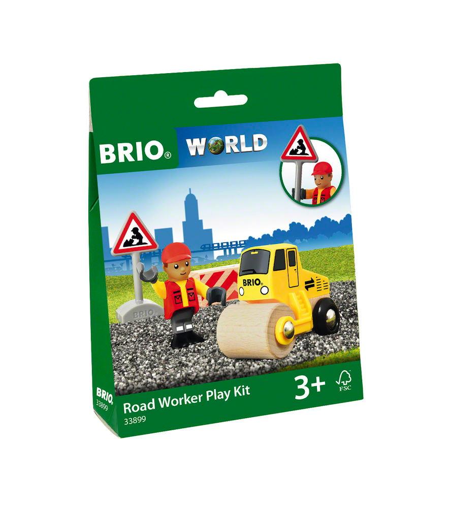Brio World Eisenbahn Fahrzeug Spielpäckchen Straßenbauarbeiterset 4 Teile 33899