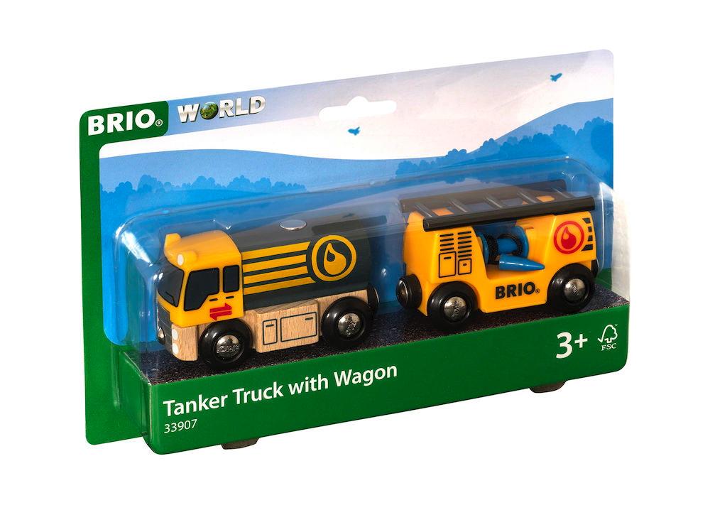 Brio World Eisenbahn Fahrzeug Tankwagen mit Anhänger 3 Teile 33907