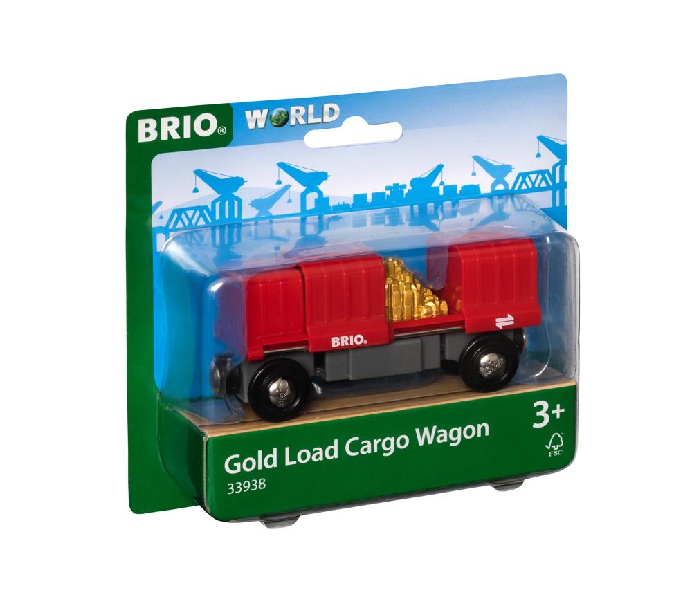 Brio World Eisenbahn Waggon Container Goldwaggon 2 Teile 33938