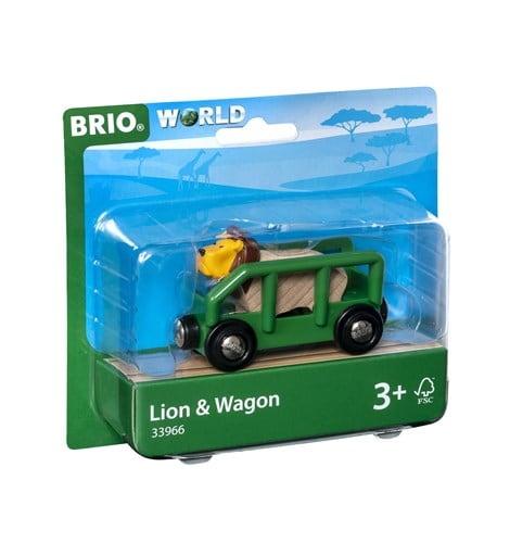 Brio World Eisenbahn Waggon Tierwaggon Löwe 2 Teile 33966