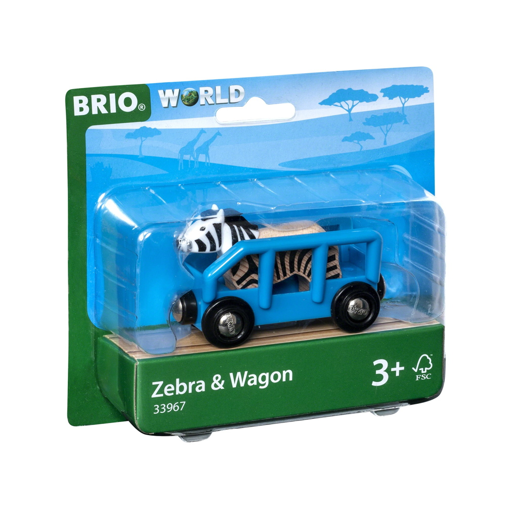 Brio World Eisenbahn Waggon Tierwaggon Zebra 2 Teile 33967