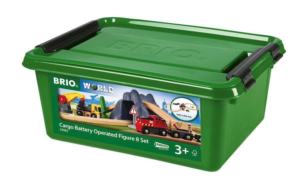 Brio World Eisenbahn Set Bahn Acht Tunnel Set mit Batterielok 26 Teile 33983