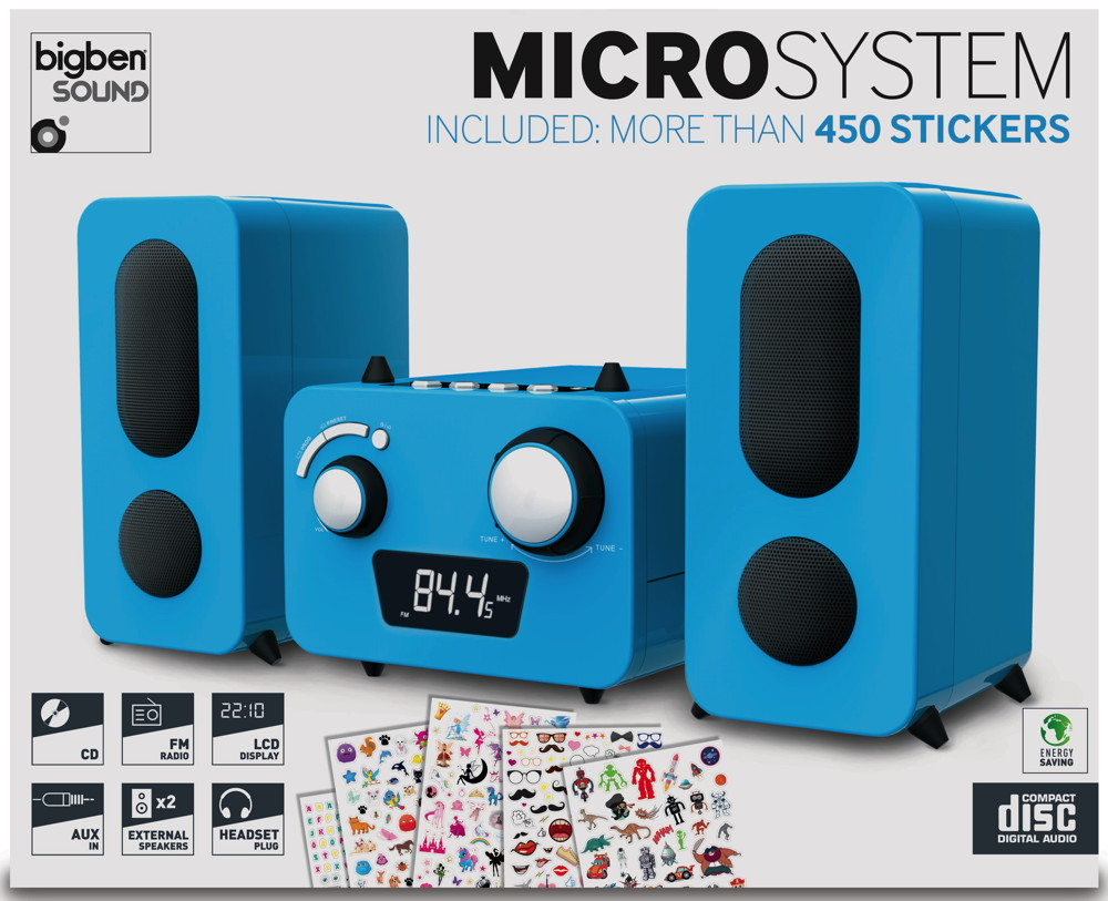 Bigben kompakte CD MP3 Stereoanlage MCD11 Kids blau FM Radio AUX-IN AU347975