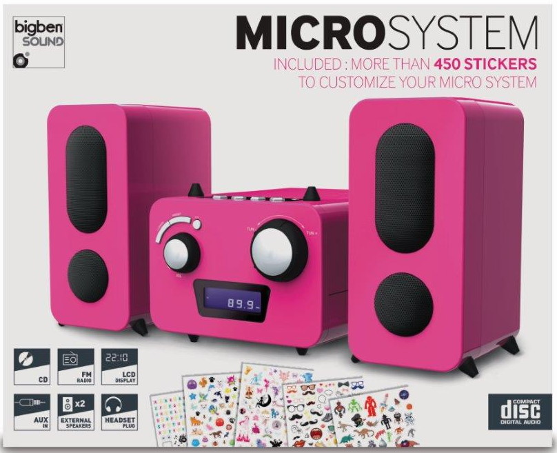 Bigben kompakte CD MP3 Stereoanlage MCD11 Kids pink FM Radio AUX-IN AU347982