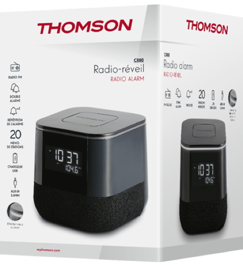Thomson Radiowecker CR80 USB-Ladeanschluss schwarz TH379228