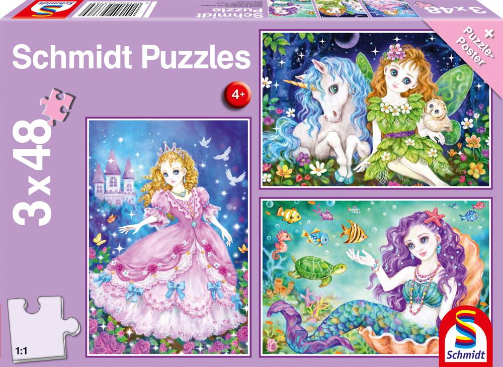 3 x 48 Teile Schmidt Spiele Kinder Puzzle Prinzessin, Fee & Meerjungfrau 56376