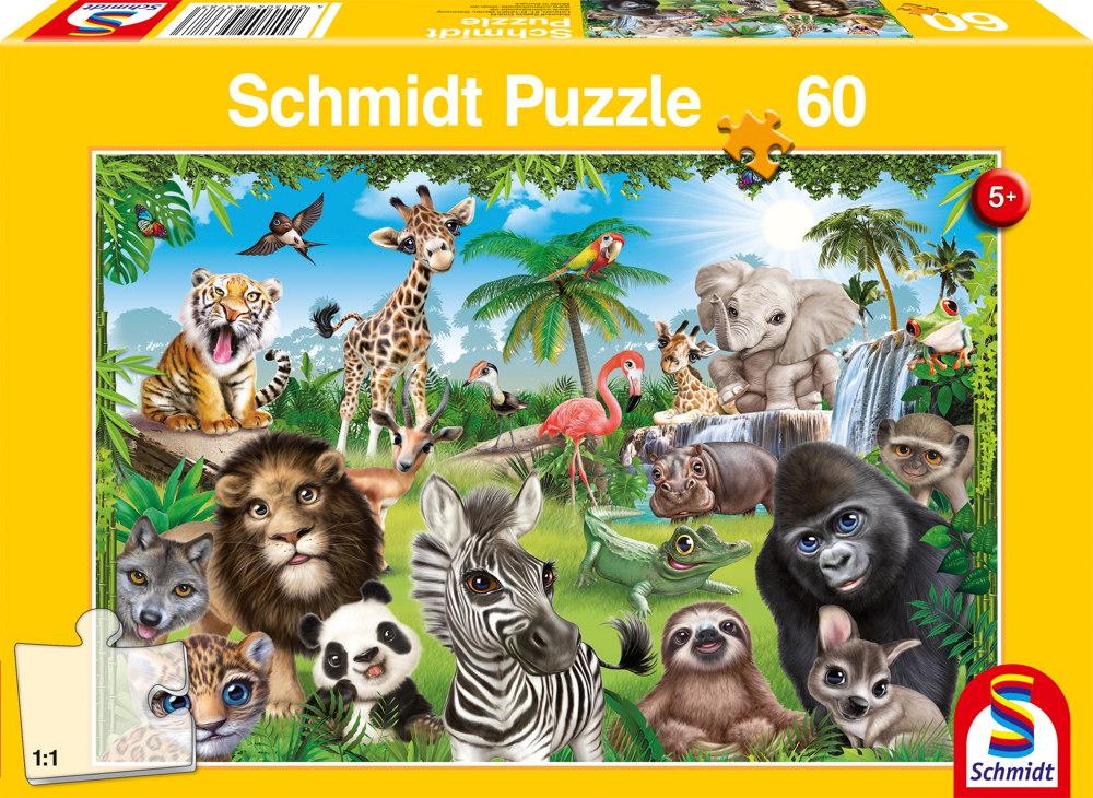 60 Teile Schmidt Spiele Kinder Puzzle Animal Club, Wildtiere 56378