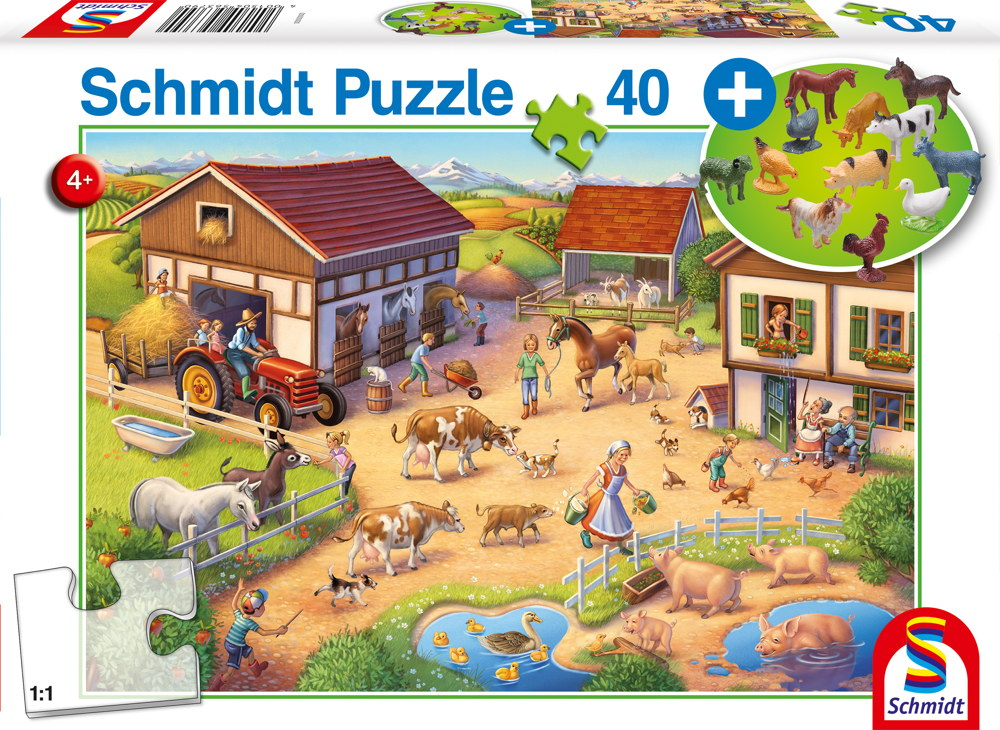 40 Teile Schmidt Spiele Kinder Puzzle Lustiger Bauernhof mit Bauernhof Set 56379