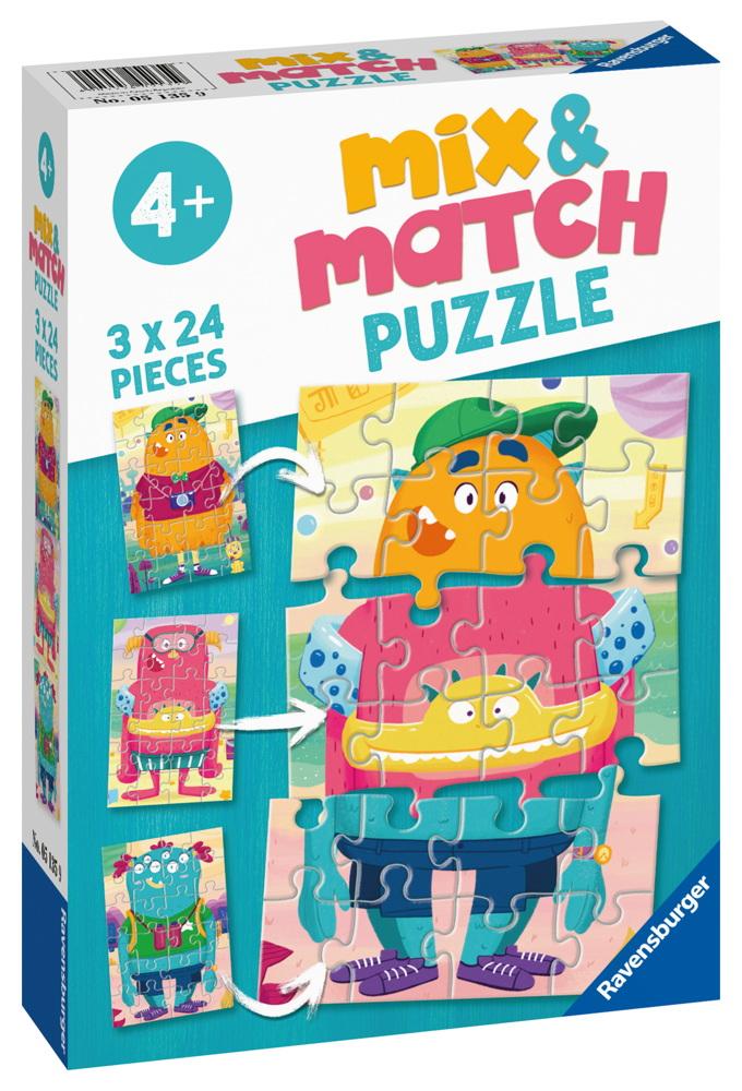 3 x 24 Teile Ravensburger Kinder Puzzle Mix & Match Lustige Monster 05135