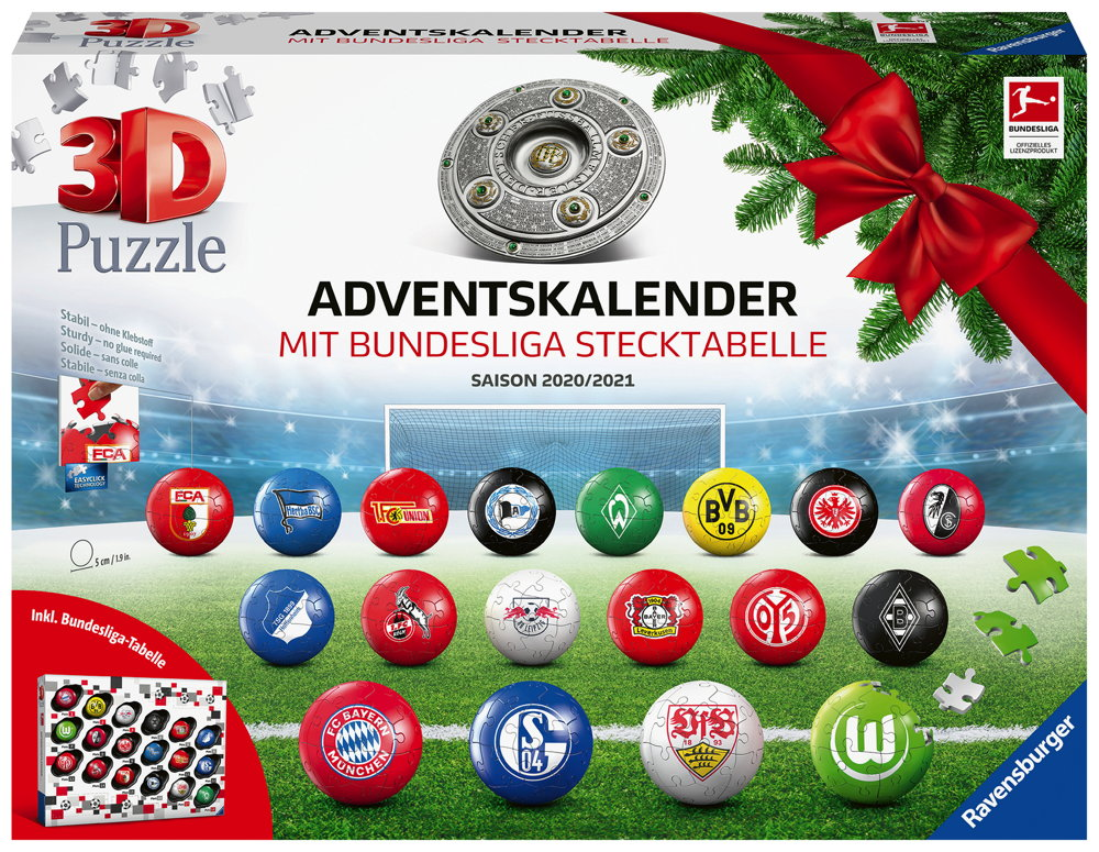18 x 27 Teile Ravensburger 3D Bundesliga Adventskalender 2020 11178