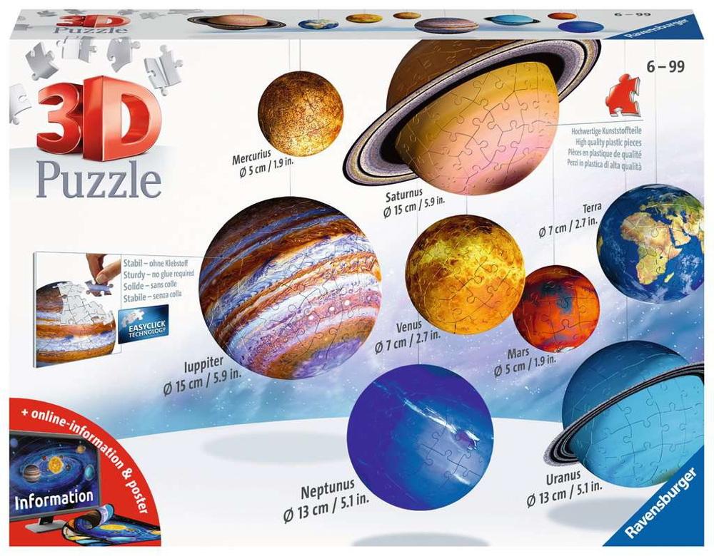 522 Teile Ravensburger 3D Puzzle Planetensystem 11668