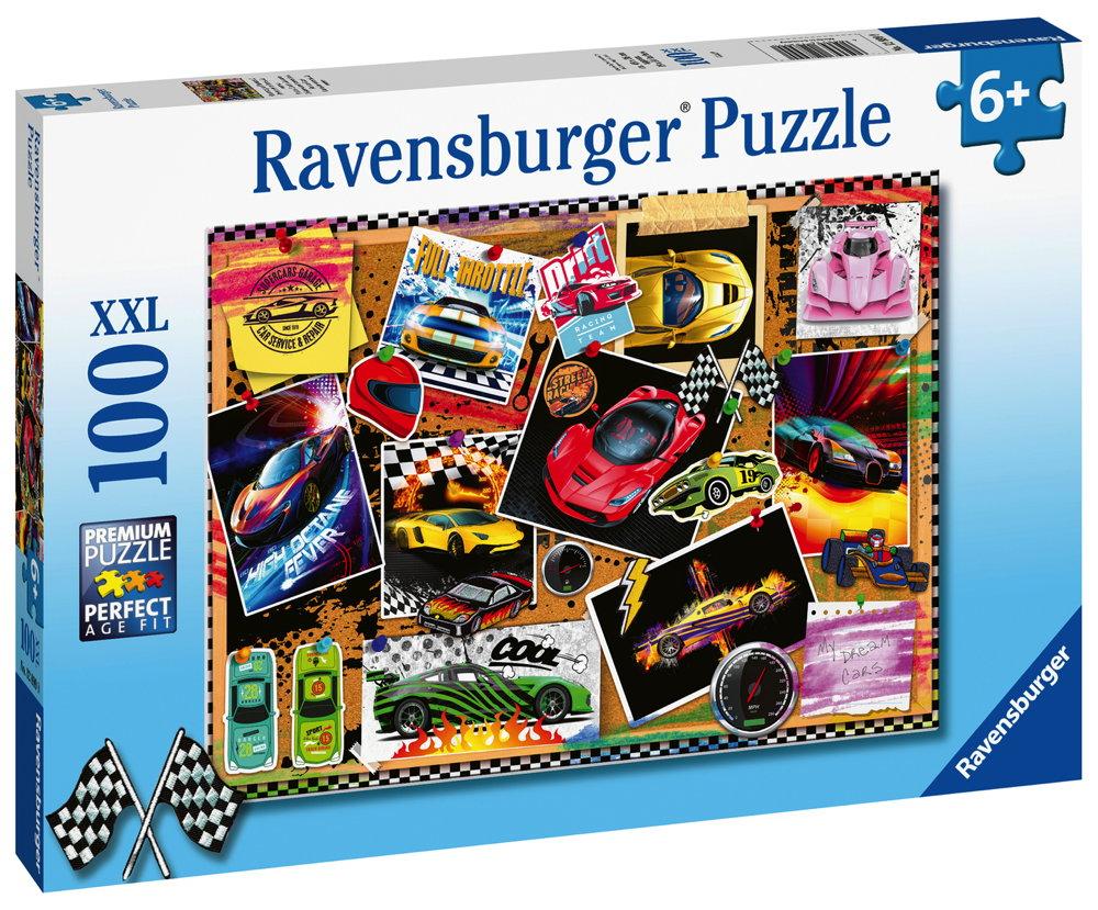 100 Teile Ravensburger Kinder Puzzle XXL Rennwagen Pinnwand 12899