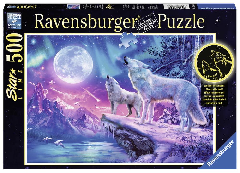 500 Teile Ravensburger Puzzle Star Line Wolf im Nordlicht 14952