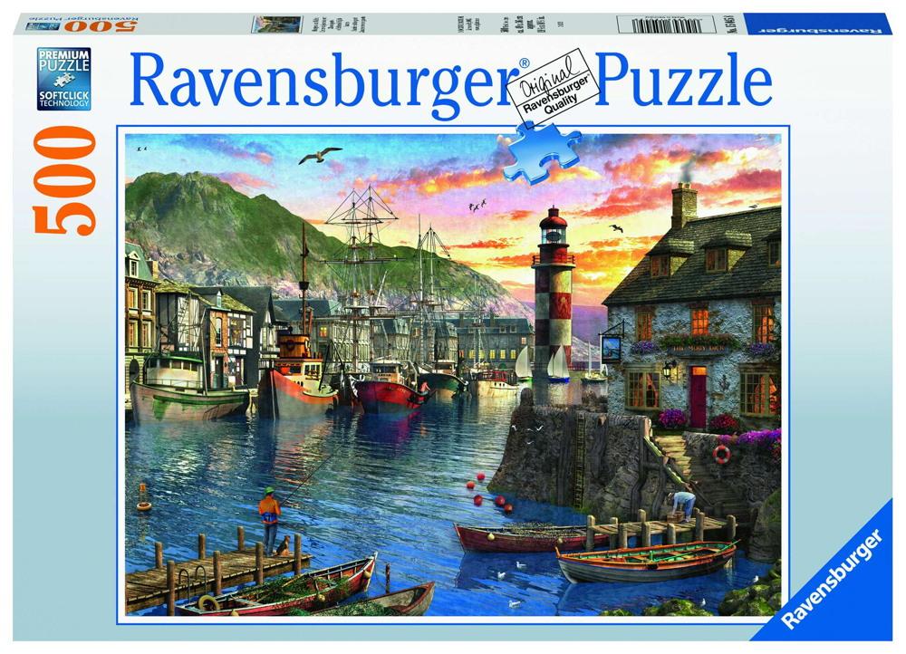 500 Teile Ravensburger Puzzle Morgens am Hafen 15045