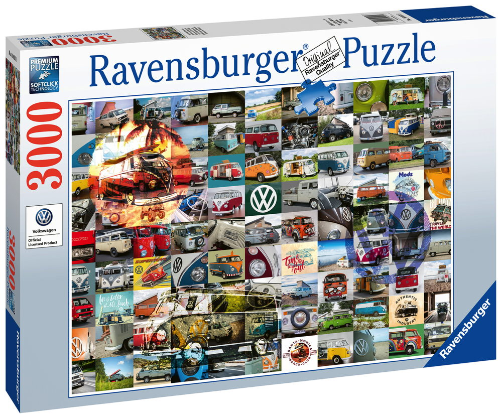 3000 Teile Ravensburger Puzzle 99 VW Bulli Moments 16018