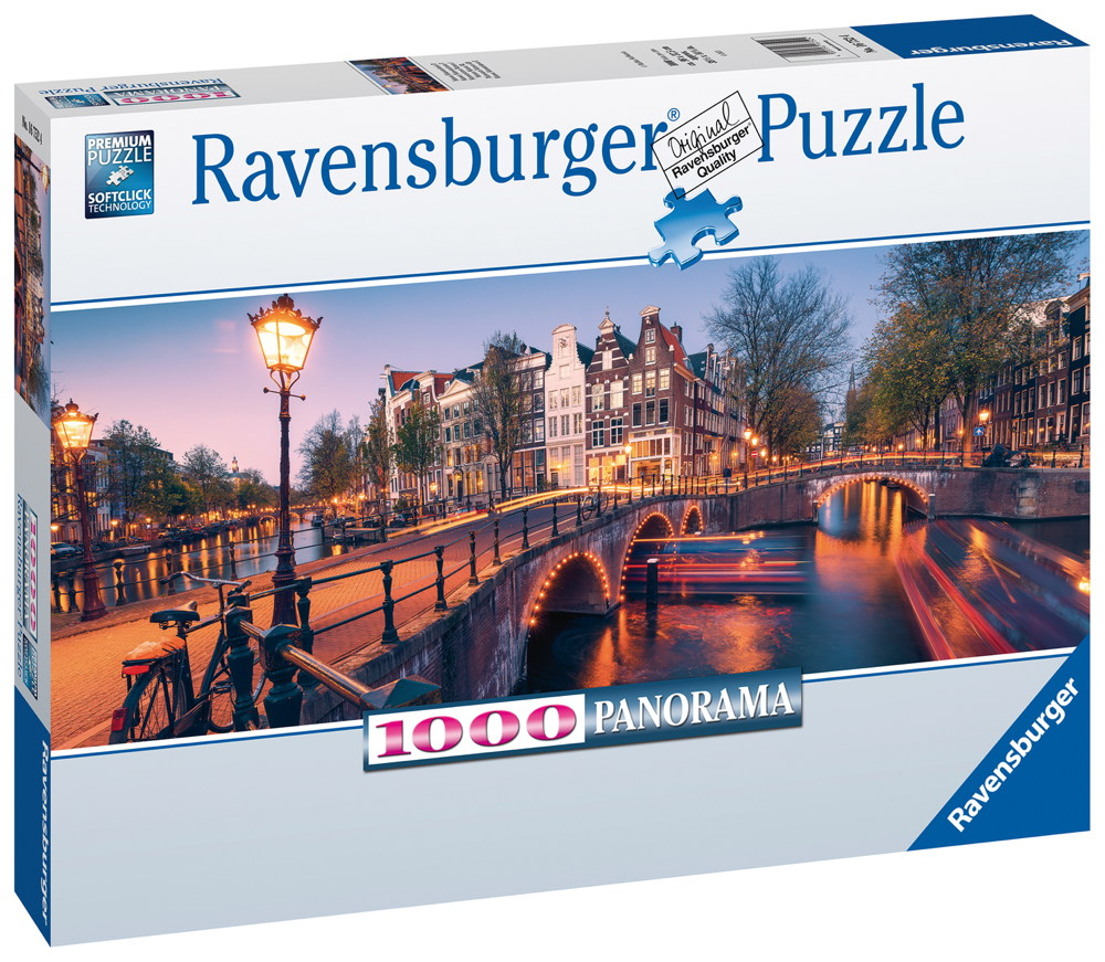 1000 Teile Ravensburger Puzzle Panorama Abend in Amsterdam 16752