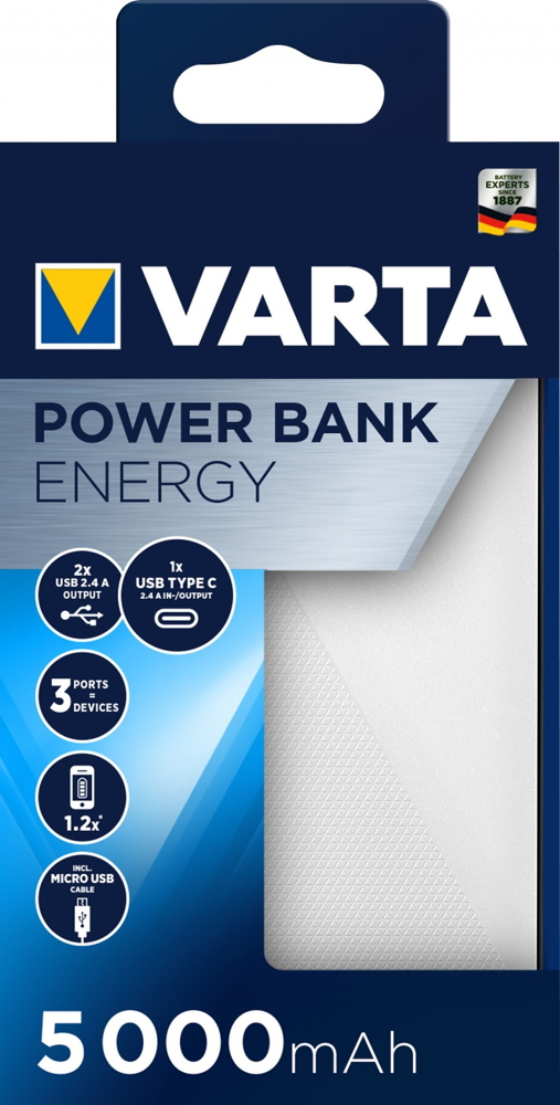 Varta Powerbank mobile Ladestation Energy 5000 mAh Typ A / Typ C USB OUT weiß