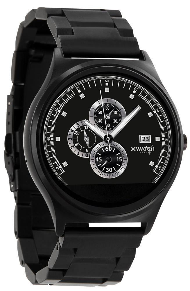Xlyne Pro Smartwatch X-Watch Qin XW Prime II Black ultraflat Android IOS dark steel