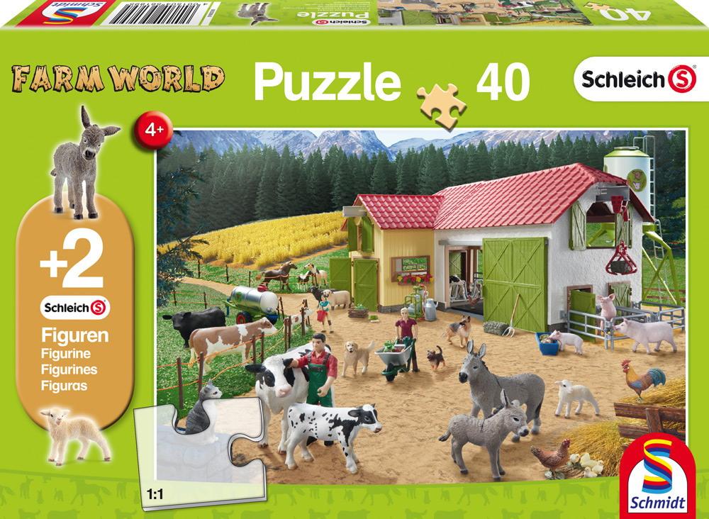 40 Teile Schmidt Spiele Kinder Puzzle Schleich Ein Tag auf dem Bauernhof mit 2 Figuren 56189