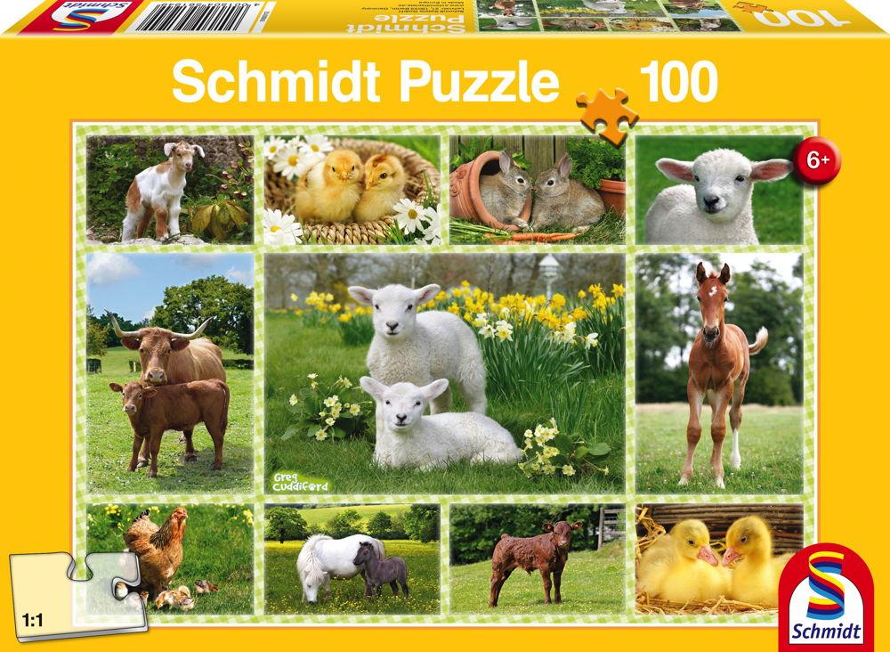 100 Teile Schmidt Spiele Kinder Puzzle Tierkinder auf dem Bauernhof 56194