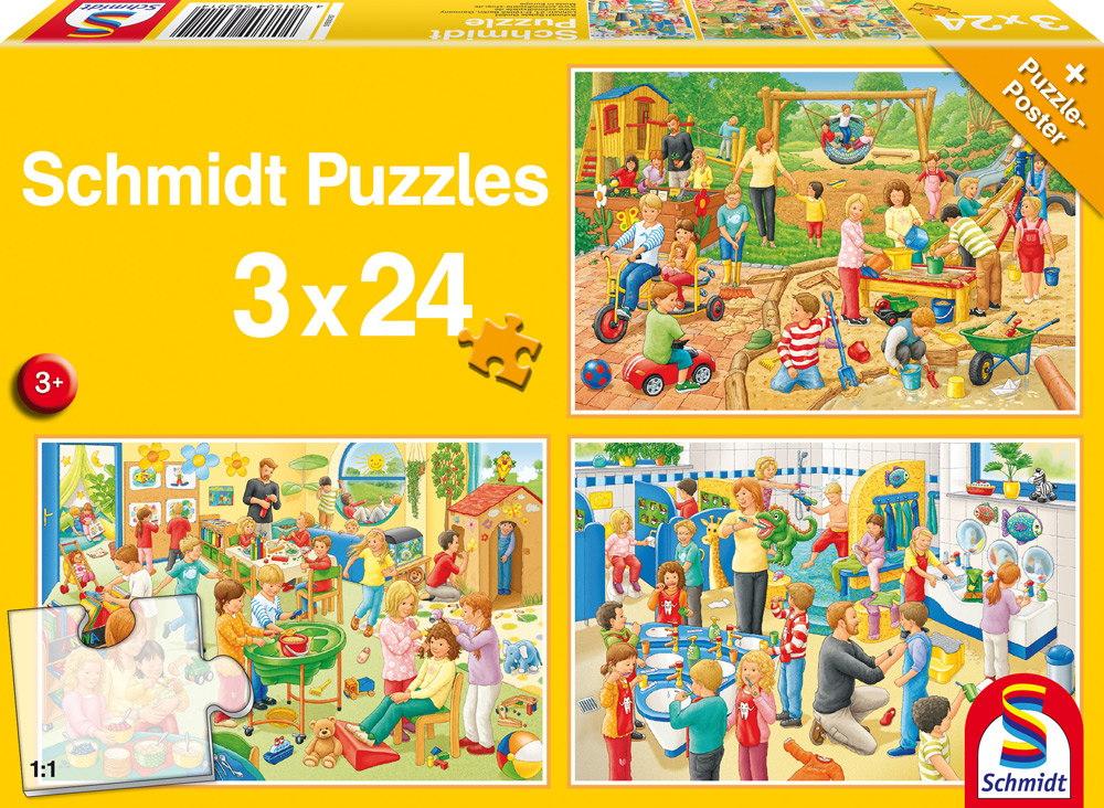 3 x 24 Teile Schmidt Spiele Kinder Puzzle Ein Tag im Kindergarten 56201
