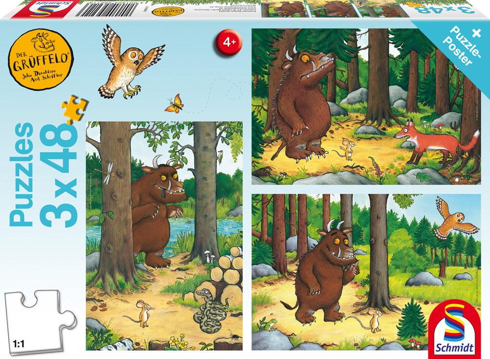 3 x 48 Teile Schmidt Spiele Kinder Puzzle Der Grüffelo Wer hat Angst vorm Grüffelo? 56211