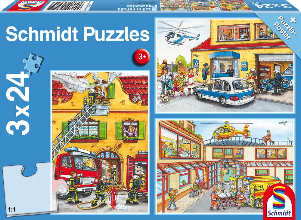 3 x 24 Teile Schmidt Spiele Kinder Puzzle Feuerwehr und Polizei 56215