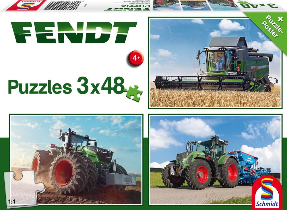 3 x 48 Teile Schmidt Spiele Kinder Puzzle Fendt 1050 Vario / 724 Vario / 6275L 56221