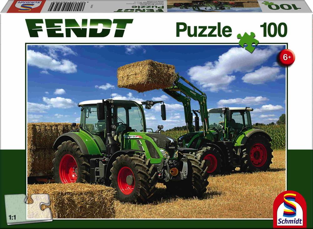 100 Teile Schmidt Spiele Kinder Puzzle Fendt 724 Vario, Fendt 716 Vario Frontlader Cargo 4x85 56256